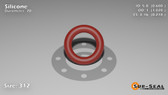 O-Ring, Orange Vinyl Methyl Silicone Size: 312, Durometer: 70 Nominal Dimensions: Inner Diameter: 3/5(0.6) Inches (1.524Cm), Outer Diameter: 1 1/50(1.02) Inches (2.5908Cm), Cross Section: 17/81(0.21) Inches (5.33mm) Part Number: ORSIL312