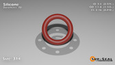 O-Ring, Orange Vinyl Methyl Silicone Size: 314, Durometer: 70 Nominal Dimensions: Inner Diameter: 29/40(0.725) Inches (1.8415Cm), Outer Diameter: 1 10/69(1.145) Inches (2.9083Cm), Cross Section: 17/81(0.21) Inches (5.33mm) Part Number: ORSIL314