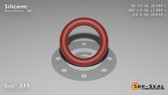 O-Ring, Orange Vinyl Methyl Silicone Size: 315, Durometer: 70 Nominal Dimensions: Inner Diameter: 48/61(0.787) Inches (1.99898Cm), Outer Diameter: 1 6/29(1.207) Inches (3.06578Cm), Cross Section: 17/81(0.21) Inches (5.33mm) Part Number: ORSIL315