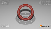 O-Ring, Orange Vinyl Methyl Silicone Size: 317, Durometer: 70 Nominal Dimensions: Inner Diameter: 83/91(0.912) Inches (2.31648Cm), Outer Diameter: 1 1/3(1.332) Inches (3.38328Cm), Cross Section: 17/81(0.21) Inches (5.33mm) Part Number: ORSIL317