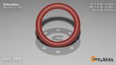 O-Ring, Orange Vinyl Methyl Silicone Size: 321, Durometer: 70 Nominal Dimensions: Inner Diameter: 1 6/37(1.162) Inches (2.95148Cm), Outer Diameter: 1 39/67(1.582) Inches (4.01828Cm), Cross Section: 17/81(0.21) Inches (5.33mm) Part Number: ORSIL321