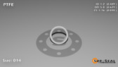 O-Ring, White PTFE/PTFE/TFE Size: 014, Durometer: 75 Nominal Dimensions: Inner Diameter: 22/45(0.489) Inches (1.24206Cm), Outer Diameter: 39/62(0.629) Inches (1.59766Cm), Cross Section: 4/57(0.07) Inches (1.78mm) Part Number: ORTFE014