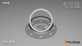 O-Ring, White PTFE/PTFE/TFE Size: 023, Durometer: 75 Nominal Dimensions: Inner Diameter: 1 5/98(1.051) Inches (2.66954Cm), Outer Diameter: 1 17/89(1.191) Inches (3.02514Cm), Cross Section: 4/57(0.07) Inches (1.78mm) Part Number: ORTFE023