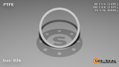 O-Ring, White PTFE/PTFE/TFE Size: 026, Durometer: 75 Nominal Dimensions: Inner Diameter: 1 11/46(1.239) Inches (3.14706Cm), Outer Diameter: 1 36/95(1.379) Inches (3.50266Cm), Cross Section: 4/57(0.07) Inches (1.78mm) Part Number: ORTFE026