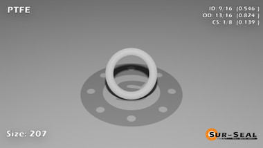 O-Ring, White PTFE/PTFE/TFE Size: 207, Durometer: 75 Nominal Dimensions: Inner Diameter: 6/11(0.546) Inches (1.38684Cm), Outer Diameter: 14/17(0.824) Inches (2.09296Cm), Cross Section: 5/36(0.139) Inches (3.53mm) Part Number: ORTFE207
