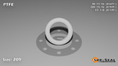 O-Ring, White PTFE/PTFE/TFE Size: 209, Durometer: 75 Nominal Dimensions: Inner Diameter: 51/76(0.671) Inches (1.70434Cm), Outer Diameter: 93/98(0.949) Inches (2.41046Cm), Cross Section: 5/36(0.139) Inches (3.53mm) Part Number: ORTFE209