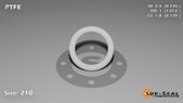 O-Ring, White PTFE/PTFE/TFE Size: 210, Durometer: 75 Nominal Dimensions: Inner Diameter: 69/94(0.734) Inches (1.86436Cm), Outer Diameter: 1 1/83(1.012) Inches (2.57048Cm), Cross Section: 5/36(0.139) Inches (3.53mm) Part Number: ORTFE210