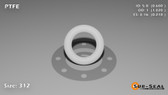 O-Ring, White PTFE/PTFE/TFE Size: 312, Durometer: 75 Nominal Dimensions: Inner Diameter: 3/5(0.6) Inches (1.524Cm), Outer Diameter: 1 1/50(1.02) Inches (2.5908Cm), Cross Section: 17/81(0.21) Inches (5.33mm) Part Number: ORTFE312