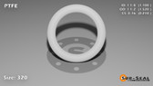 O-Ring, White PTFE/PTFE/TFE Size: 320, Durometer: 75 Nominal Dimensions: Inner Diameter: 1 1/10(1.1) Inches (2.794Cm), Outer Diameter: 1 13/25(1.52) Inches (3.8608Cm), Cross Section: 17/81(0.21) Inches (5.33mm) Part Number: ORTFE320