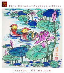 Chinese Contemporary Peasant Painting 25x25cm Asian Watercolor Folk Art #112