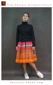 Hand Woven Embroidered Plaid Pleated Skirt Vintage Women Dress #101