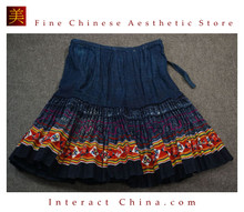 Hand Woven Embroidered Plaid Pleated Skirt Vintage Women Dress #232