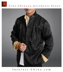 Chinese Tai Chi Kungfu Reversible Black / Gold Jacket Blazer 100% Silk Brocade #108