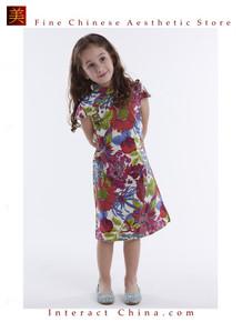 Handmade Girls Dress Chinese Cheongsam Qipao Children Kids Cotton Clothing # 106