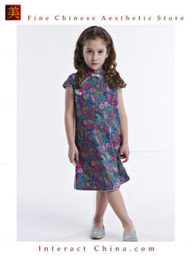 Handmade Girls Dress Chinese Cheongsam Qipao Children Kids Cotton Clothing # 107
