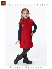 Handmade Girls Wool Dress Overcoat Chinese Cheongsam Qipao Kids Clothing #204