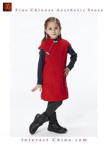 Handmade Girls Wool Dress Overcoat Chinese Cheongsam Qipao Kids Clothing #204