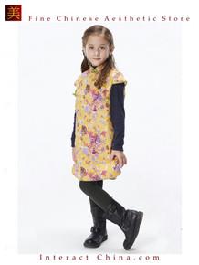 Handmade Girls Cotton Dress Overcoat Chinese Cheongsam Qipao Kids Clothing #208