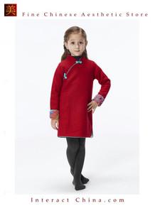 Handmade Girls Wool Dress Overcoat Chinese Cheongsam Qipao Kids Clothing #209