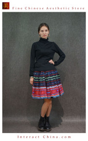 Hand Woven Embroidered Plaid Pleated Skirt Vintage Women Dress #115