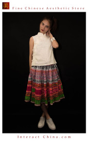 Hand Woven Embroidered Plaid Pleated Skirt Vintage Women Dress #117