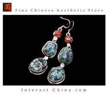 Fine Tibetan Turquoise Jewelry 925 Silver Drop Dangle Earrings 100% Handcraft #113