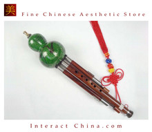 Sandalwood Cloisonne 3 Octaves Hulusi Flute Woodwind #108G + Case + How to Play Guide