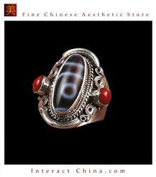 Fine Tibetan Turquoise Coral Gemstone Jewelry 925 Silver Ring 100% Handcraft #112