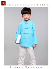 100% Handmade Boys Long Sleeve Kung Fu Tai Chi Martial Arts Kids Jacket #103