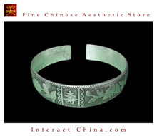 Tribal Silver Cuff Bracelet Chinese Ethnic Hmong Miao Jewelry #216 Unique Handmade