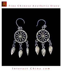 Tribal Silver Earrings Chinese Ethnic Hmong Miao Jewelry #331 Uniquely Handmade