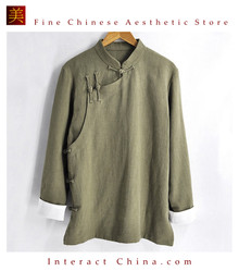 Stylish Handmade Mens Casual Linen Cotton Mandarin Collar Blazer Jacket #105