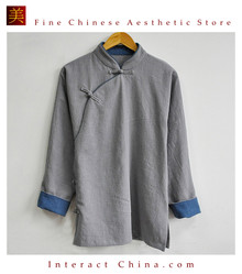 Stylish Handmade Mens Casual Linen Cotton Mandarin Collar Blazer Jacket #106