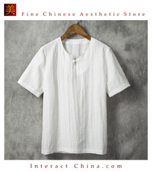 Fashionable Handmade Mens Cotton Linen Casual Short Sleeve Shirt #109