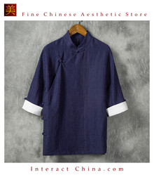 Fashionable Handmade Mens Cotton Linen Casual Wear Three Quarter Sleeve Shirt #110