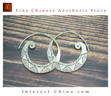 Fine 99 Earrings High Purity Sterling Silver Jewelry 100% Handcrafted Art #114
