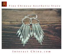 Fine 99 Earrings High Purity Sterling Silver Jewelry 100% Handcrafted Art #152