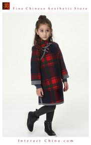Handmade Girls Wool Dress Overcoat Chinese Cheongsam Qipao Kids Clothing #212