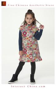 Handmade Girls Cotton Dress Overcoat Chinese Cheongsam Qipao Kids Clothing #213