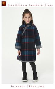 Handmade Girls Cotton Dress Overcoat Chinese Cheongsam Qipao Kids Clothing #216