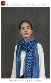 Super Soft Reversible 100% Handloom Woven Thai Ikat Batik Women Cotton Scarf Pashmina Shawl Fair Trade #104