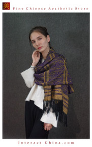 Elegant Reversible 100% Handloom Woven Solid Ethnic Brocade Women Scarves Long Shawl  Fair Trade #103