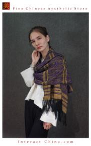Elegant Reversible 100% Handloom Woven Solid Ethnic Brocade Women Scarves Long Shawl  Fair Trade #103