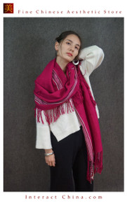 Cashmere Feel 100% Handloom Woven Handloom Check Stripes Plaid Scarf Wrap Fair Trade #103