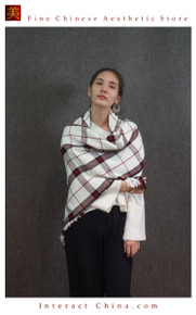 Cashmere Feel 100% Handloom Woven Handloom Check Stripes Plaid Scarf Wrap Fair Trade #105