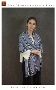 Cashmere Feel 100% Handloom Woven Handloom Check Stripes Plaid Scarf Wrap Fair Trade #107