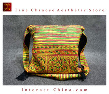 Hippie Chic Hmong Miao 100% Hand Embroidered Women Girls Cross Body Drawstring Saddle Bag #102
