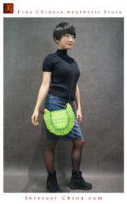 Hippie Chic Hmong Miao 100% Hand Embroidered Women Girls Cross Body Drawstring Saddle Bag #105