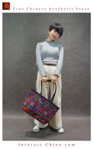 Boho Chic 100% Hand Embroidered Tribal Women Vintage Weekender Tote Shoulder Bag #101