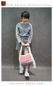 100% Handloom Woven Embroidery Fair Trade Women Girls Beach Casual Light Cotton Shopper Cross Body Bag #101